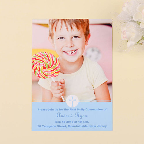 Christening Cross – Pool Communication Photo Invitation