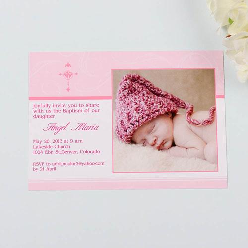 Perfect Angle - Strawberry Baptism Photo Invitation