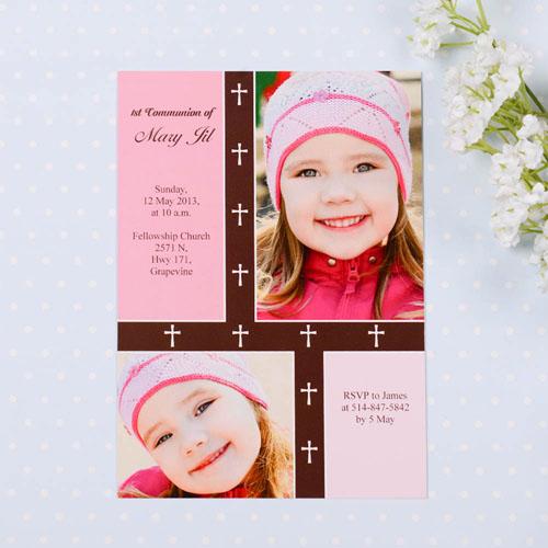 Organic Cross – Girl Collage Communication Invitation