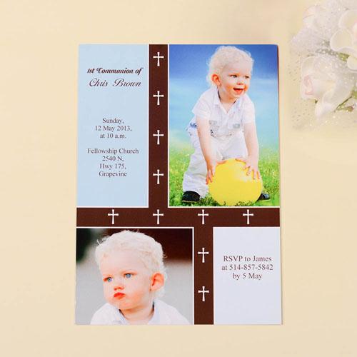Organic Cross – Boy Collage Communication Invitation