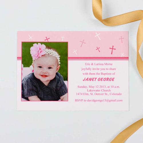 Sweet Reflection – Soft Pink Baptism Photo Invitation