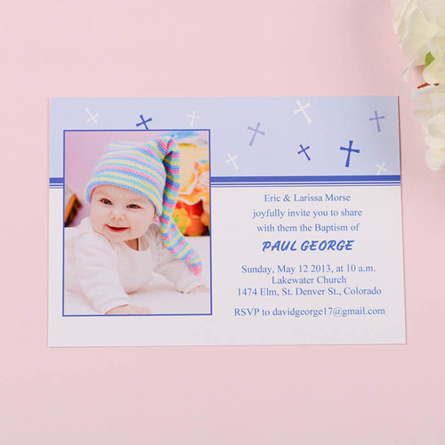 Sweet Reflection – Soft Blue Baptism Photo Invitation