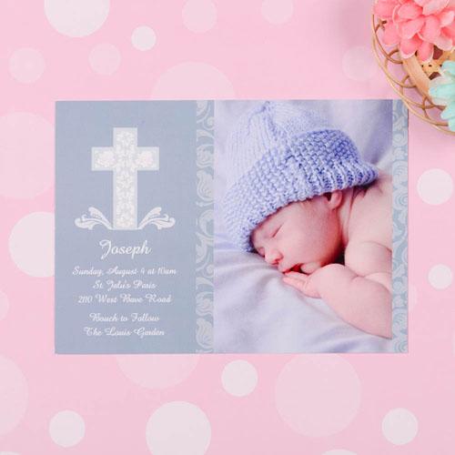 Framed Cross Boy Baptism Photo Invitation
