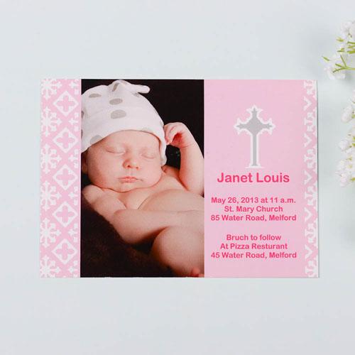 Faithfully Pink Baptism Photo Invitation