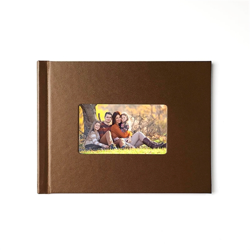 8.5x11 Brown Leather Hard Cover