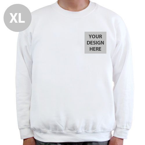 Create Your Own Print Your Logo White Sweatshirt, XL