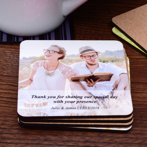 Personalized Photo Transparent Stripe Cork Coaster