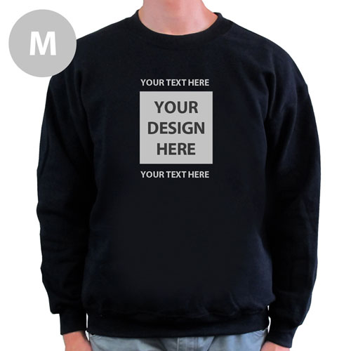 Design Your Own Image & Two Text Lines Black M Sweatshirt