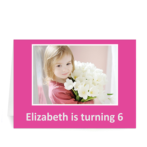 Hot Pink Photo Birthday Cards, 5x7 Folded