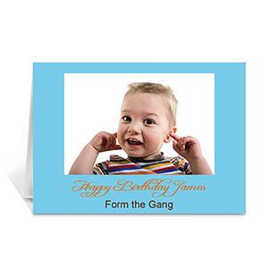 Baby Blue Photo Birthday Cards, 5x7 Folded