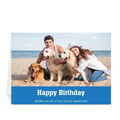 Classic Blue Photo Birthday Cards, 5x7 Folded Simple