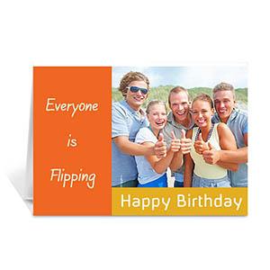Classic Orange Photo Birthday Cards, 5x7 Folded Modern
