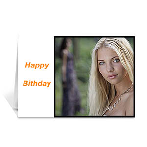 Classic White Photo Birthday Cards, 5x7 Folded Modern