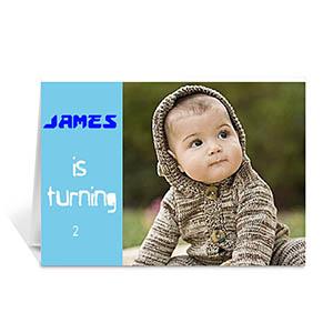 Baby Blue Photo Birthday Cards, 5x7 Folded Modern