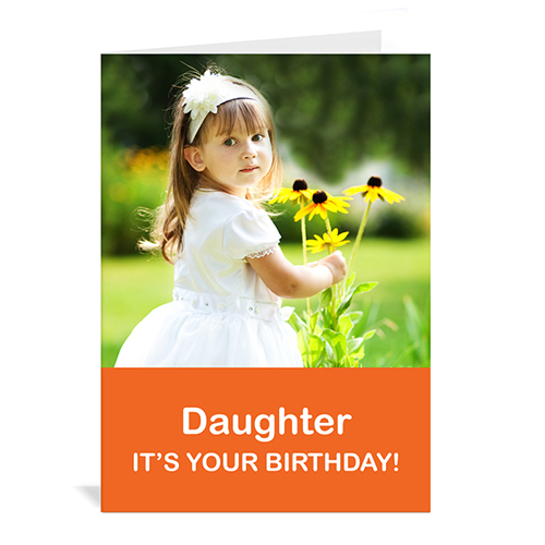 Classic Orange Photo Birthday Cards, 5x7 Portrait Folded Simple