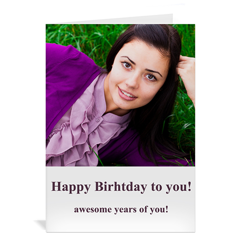 Classic White hoto Birthday Cards, 5x7 Portrait Folded Simple