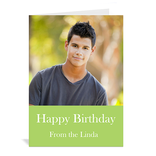 Birthday Lime Photo Cards, 5x7 Portrait Folded Simple