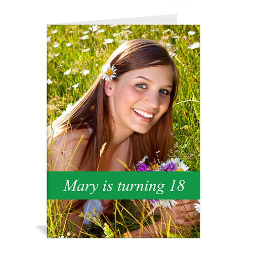Classic Green Photo Birthday Cards, 5x7 Portrait Folded Causal