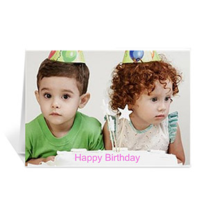 Happy Birthday Photo Cards, 5x7 Landscape Folded