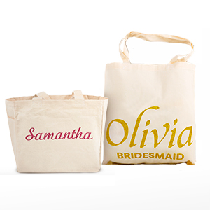 22f29e303a Add a bit of sparkle to a natural cotton canvas tote bag by adding a name  to it with colorful glitter-like embellishment. Ideal as a splendid wedding  gift ...