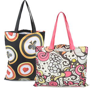 237ca1727 Show off your personal style and design your own tote bag with your artwork  printed all over the bag. Features two handles for easy carrying and comes  in a ...